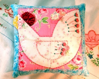 Pincushion, Rosey Rooster Patchwork Pincushion in Bright Modern Prints- Ready to Ship