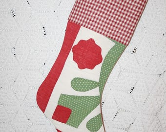Flower Quilt Stocking | Red, Green and Cream Antique 1800s Quilt Christmas Stocking with Antique Homespun Cuff