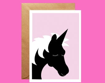 Beautiful Unicorn Greetings Card, Blank Birthday Card, Black and White Unicorn, New Baby card, Card for daughter, card for her, for friend