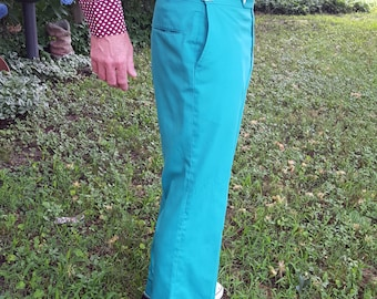 Mens 70s Pants in Kelly Green by John Alexander Slackeaze, Vintage Pants, 70s Costume Waist Size 30.5 to 39