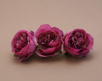 3 Small TWO TONE VIOLET Cabbage Peonies  - Artificial Flower Heads
