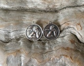 INVENTORY REDUCTION — 2 Rustic Sterling Silver Cherub Charms