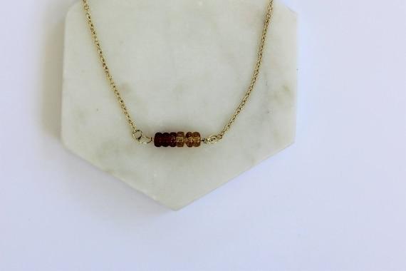 Delicate Amber Glass Choker