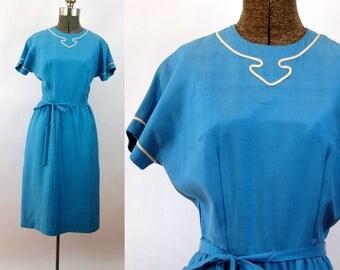 1950s dress blue silk dolman sleeves appliqued belted Size M Milarre Originals