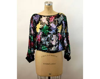 1980s sequin top bat wing sleeves slouchy holiday evening cocktail multi colored Size M