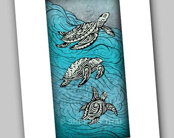 Underwater Tribal Swimming Turtles Animal Illustration Design, Art Print, Sale