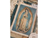 Handmade Our Lady of Guadalupe Virgin Mary Shrine Altar Devotional Folk Art Wall Hanging Retablo Fabric Collage OOAK