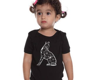 Coyote Baby Shirt, Short Sleeved Organic Cotton Baby Bodysuit, Hand Screenprinted, New Mexico Wildlife, Howling Coyote, Star Constellation