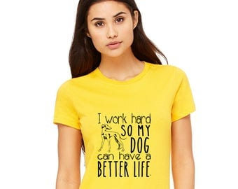 Dog Mom Shirt, I work Hard, Dog Lover Gift, Cotton Crewneck Tshirt, Short Sleeved, Hand Printed, Funny Graphic Tee, Fur Mama, Rescue Canine