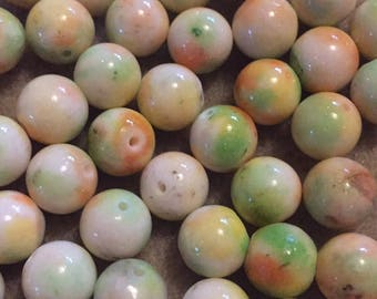 20 x round 10mm two tone orange/green dyed jade beads