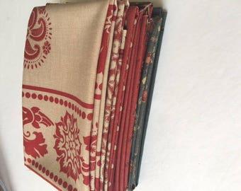 Moda French General Fat 8 Bundle of 7 different fabrics 13543 La Petite Ecole 13550