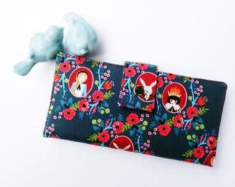 Vegan Wallet, Women's Wallet, Alice in Wonderland Wallet, Ladies Wallet, Credit Card wallet, Wallet for women