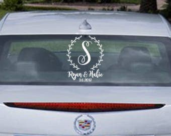 Just Married Car Sign- Custom Circle Vine Vinyl Decal
