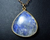 Large Rainbow Moonstone Necklace, Large Smooth Natural Rainbow Moonstone Pendant, Bright Cornflower Blue and Cobalt Blue Fire, Gold Bezel
