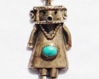 Navajo Sterling Silver Turquoise Kachina Cylinder Link Pendant Necklace