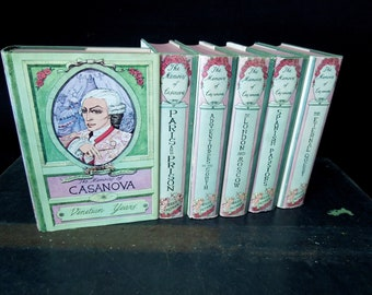The Memoirs of Casanova  Book Set - Book Collection - Books for Decor Green Vintage - Literary Gift - Book Lovers Gift