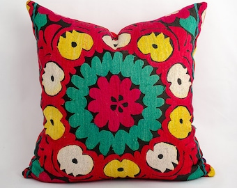 Suzani pillow cover, pillowcase, vintage pillow, suzani. bohemian, cushion case, accent pillow, decorative pillow, red yellow green