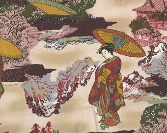 """JAPANESE LADIES FABRIC Cotton Fabric, 1 yard x 45"""" inches wide.  Brand new."""