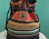 vintage ethnic hand woven bucket handbag