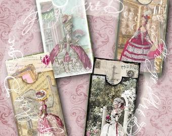Marie Antoinette Set of 4 Printable Envelope Pockets and inserts  Digital Collage Sheets Ephemera, Junk Journal Tags. Scrapbook, Books