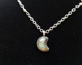 Sterling Silver -- Crescent Moon-- Labradorite Pendant  Necklace