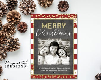 Photo Holiday Card, Photo Christmas Card, Faux Gold Foil Photo Card, Red and White Stripe Card, Gold Confetti Card, Chalk Christmas Card