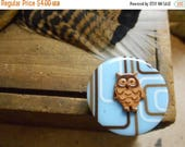 SALE Wise owl Geometric blue, brown & tan lines, zines  button and small owl. Whimsical Funky Cocktail ring