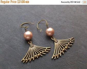The Summer's Romance Earrings. Pink Glass Pearl & Rustic Brass Fan dangle earrings