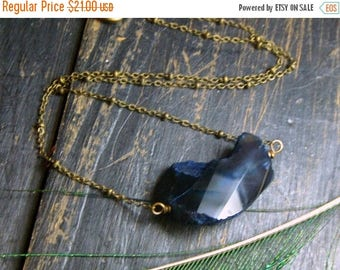 SALE The Loft in the Sky Druzy necklace. Cobalt Blue Druzy Agate on brass satellite chain Necklace