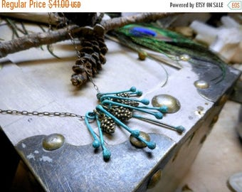 SALE The Pine Needles Boho Necklace. Mini Brass Pinecones & Teal Verdigris copper Bud Fringe Necklace. Boho Necklace. Gift For Her.