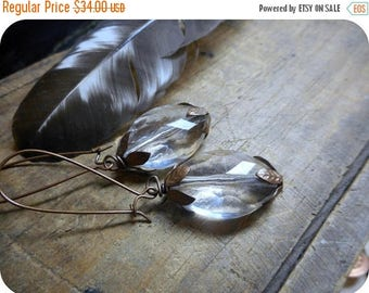SALE The Old Salem Soothsayer. Antiqued Copper & Crystal Lucite earrings