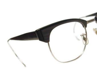 NICE!  Vintage Mens Charcoal Woodgrain Hornrim Eyeglasses Eyewear Frame