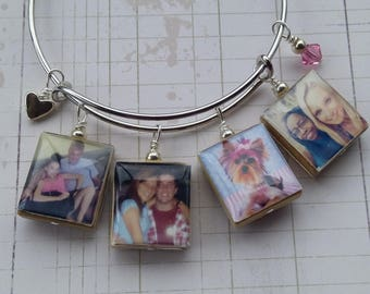 Bangle Photo Custom Bracelet - Adjustable Platinum Photo Art Charm Customized Scrabble Art Photography