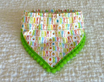 "Pet Bandana, Happy Birthday Surprise Dog Scrunchie Bandana with lime pom trim - S: 12"" to 14"" neck"