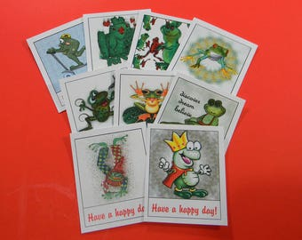 2 Sets of 9 Thank You Cards Funky Frogs Have a Happy Day Cards or Tags. 5321
