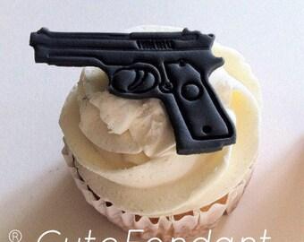 12 Fondant gun cupcake toppers