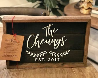 Custom Wedding Gift - Family Name Sign - Farmhouse Decor - Wooden Sign - Rustic Wood Sign - Housewarming Gift - Hostess Gift - Wood Sign