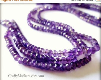 7% off SHOP SALE AAA Brazilian Medium Purple Amethyst Gemstone Faceted Rondelles, 3.5mm - 1/4 Strand (3.5 inches long)