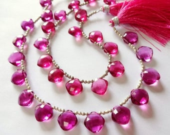 7% off SHOP SALE Candy PINK Hydro Quartz Faceted Cushion Briolettes Trio, (1) Matched Pair plus (1) Focal, 12mm