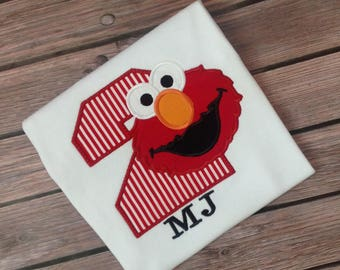 Birthday Elmo Birthday Shirt,Sesame Street Birthday Shirt, Elmo Birthday Shirt,Elmo Party Shirt,Elmo Second Birthday Shirt,Boys 2nd Birthday