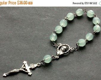 BACK to SCHOOL SALE Aqua Green Pocket Rosary. Crystal Rosary. Aqua Green Rosary with Silver Accents. Handmade Rosary.