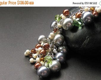 BACK to SCHOOL SALE Pearl Charm Bracelet, Earring Set. Handmade Jewelry by Gilliauna
