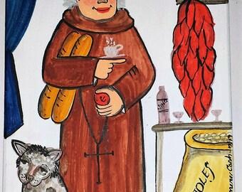 Retablo, San Pasqual, Kitchen Saint, Santo, Spanish Market, folk art, Marie Romero Cash