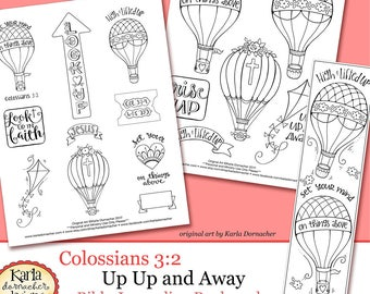 NEW Up Up and Away - Colossians 3 - Color-Your-Own Bookmarks Bible Journaling Art Tracers - Instant download - Bible Verse Digital Printable