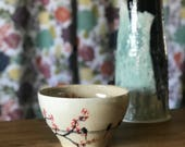 Amber Bowl with Cherry Blossom Soup Bowl Cereal Bowl GP Bowl Stew Bowl Big Bowl Floral Birds