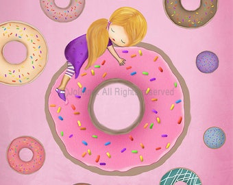 Doughnuts Poster,Art Print Donuts,Kids Room Artwork,Illustration Baby Nursery Art,Decorate Kids Room,Kitchen Wall art Poster,Coffee Shop Art