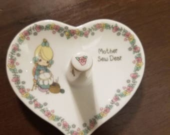 Ceramic vintage precious moments heart shaped  ring holder, mother sew dear