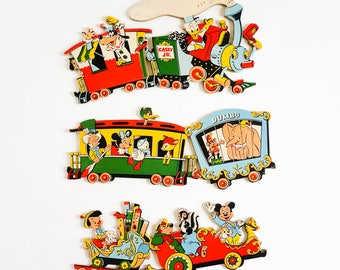 Vintage 1950s Dolly Toy Company Disneyland Casey Jr. Wall Hanging Partial Set / Disney Train and Characters, Retro Nursery Childs Room Decor