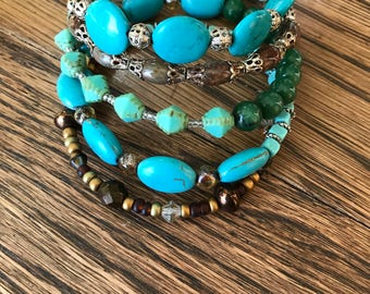 Memory Wire Boho Beaded Bracelet stacked bangle style with jade, crystals, glass and turquoise howlite beads and silver toned bead caps