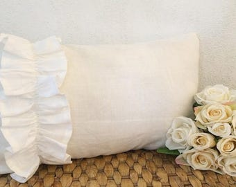 White Ruffle Trim Oblong Cushion In Linen And Cotton